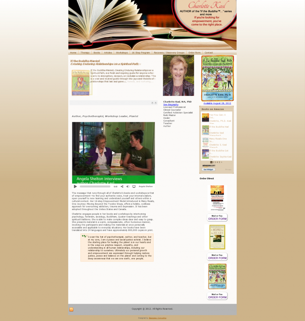 Charlotte Kasl website design by Beargrass Consulting